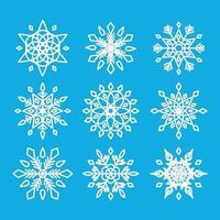conjunto de flocos de neve isolados vetor