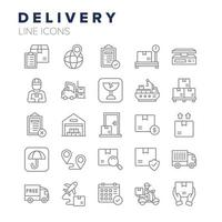 conjunto de ícones de linha de entrega vetor