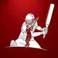 silhueta de jogadores de críquete esporte gráfico de ação vetor