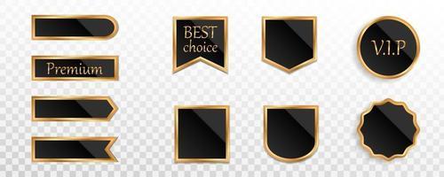 crachá de etiqueta ouro preto premium ou coleção de etiquetas vetor