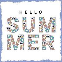 Olá, banner de vetor de verão com padrão de elementos de praia e ilustração vetorial de tipografia de texto