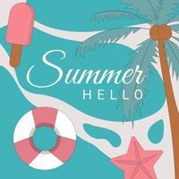 Olá, banner de vetor de verão com elementos de praia e ilustração vetorial de tipografia de texto
