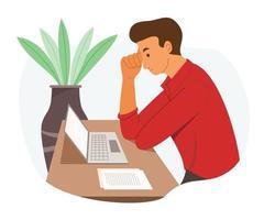 os homens trabalhadores olham para o laptop e pensam vetor