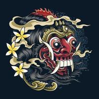 máscaras da cultura e tradições balinesas do diabo bali vetor