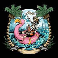 caveiras em flamingos flutuam na praia durante festas de verão repletas de coqueiros vetor