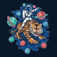 astronauta cavalgando vetor de camada editável de tigre do espaço sideral