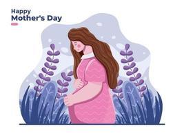 feliz dia das mães com ilustração de mãe grávida com fundo floral pode usar para banner cartaz etc. vetor