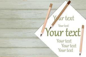 imagem de fundo vetorial em um fundo de madeira com uma folha de papel e um lápis para escrever vetor