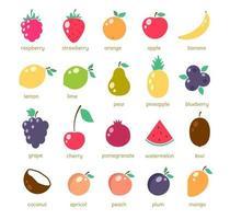 ícones de frutas simples vetor
