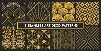 conjunto de padrão de design sem costura elegante em art déco vetor