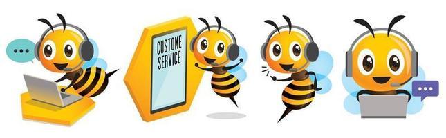 Operador de abelha sorridente fofo com fone de ouvido trabalhando no call center e comunicando-se para atendimento ao cliente vetor