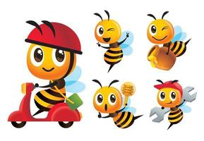 desenhos animados bonitos variedade de abelhas poses definidas com passeio de scooter e entrega pote de mel vetor