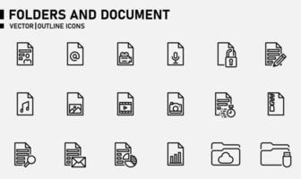 pastas e conjunto de ícones de contorno de documento vetor