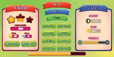 cena de menu de jogo de seleção de nível com botões de barra de carregamento e estrelas pro vetor