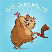 desenho animado feliz marmota na ilustração vetorial do seu dia vetor