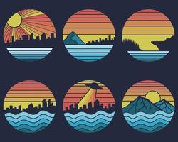 ilustração em vetor retrô litoral pôr do sol