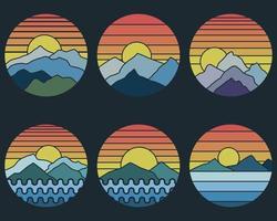 ilustração em vetor retrô montanha pôr do sol