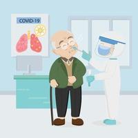 ilustração plana de teste de cotonete nasal covid 19 vetor