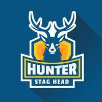 vetor de logotipo de cabeça de veado de caçador