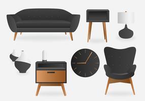 Pacote de vetor Interior minimalista cinza realista