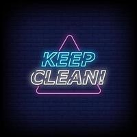mantenha limpo o vetor de texto do estilo dos sinais de néon