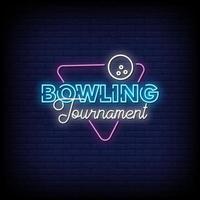 logotipo do torneio de boliche sinais de néon estilo texto vetor