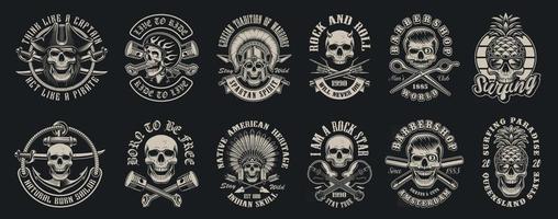 conjunto de ilustrações vetoriais de crânios vetor
