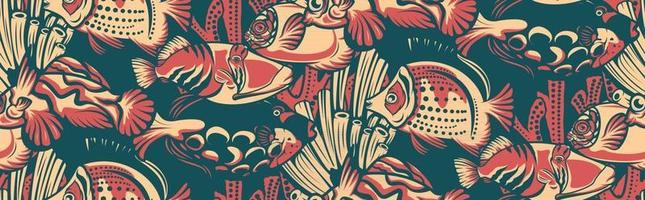 padrão sem costura vintage com peixes de recife de coral vetor