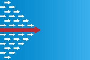 crescimento de negócios abstrato e conceito de liderança com flechas vetor