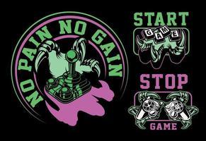 mini conjunto de emblemas sobre o tema do jogo em um fundo preto vetor