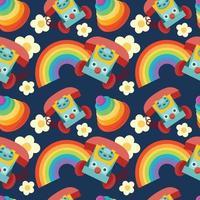 criança enche objetos de crianças sem costura no fundo do arco-íris vetor