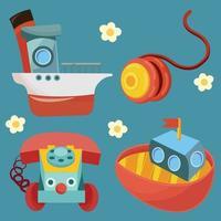 navio barco telefone e yoyo todos os brinquedos objeto infantil vetor
