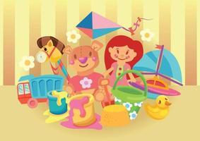 brinquedos para crianças, boneca, ursinho de pelúcia, brinquedo, objeto infantil, etc. vetor