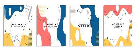 conjunto de capa abstrato desenhado à mão várias formas e objetos doodle vetor