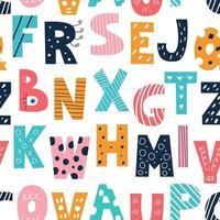 alfabeto latino multicolorido no estilo de rabiscos em um fundo branco vetor padrão sem emenda decoração com letras maiúsculas em inglês bonito para crianças pôsteres cartões postais roupas e decoração de interiores