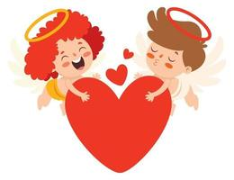 conceito de amor com personagens de desenhos animados vetor