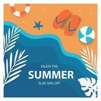 modelo de banner de venda de verão e ilustração em vetor design plano de fundo de estação quente