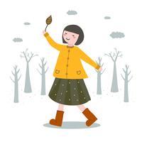 Garota em vetor de moda outono