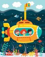 submarino dos desenhos animados no fundo do mar vetor