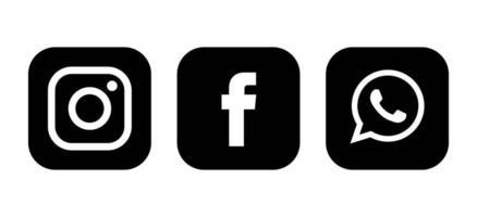 conjunto de ícones de mídia social em preto e branco vetor