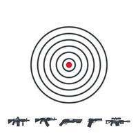 alvo e armas em ilustração vetorial branco vetor