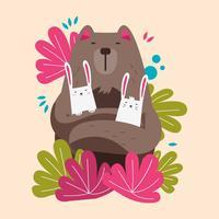 Urso bonito e pares de animais de coelhos vetor