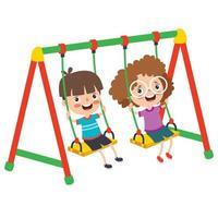 crianças engraçadas brincando em um balanço vetor