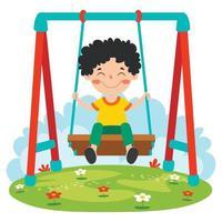 garoto engraçado brincando em um balanço vetor