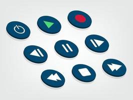 conjunto de símbolos do botão do reprodutor de mídia vetor