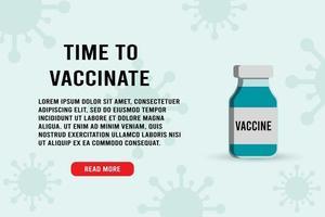 hora de vacinar comprimidos medicinais banner vetor