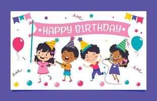 modelo de cartão de aniversário colorido fofo vetor
