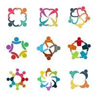 conjunto de logotipo de conexão de comunidade vetor