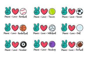 projeto da bola do esporte do amor da paz para os amantes do esporte para a saúde vetor