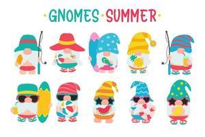 gnomos gnomos de verão usam chapéus e óculos de sol para viagens de verão à praia vetor